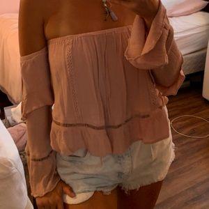 Off Shoulder Long Sleeve Light Pink Blouse